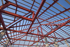Structural steel beam on roof of building residential constructi Stock Images