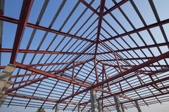 Structural steel beam on roof of building residential constructi Royalty Free Stock Photo