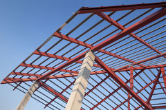 Structural steel beam on roof of building residential constructi Royalty Free Stock Photos