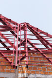 Structural steel beam on roof of building residential Royalty Free Stock Photo