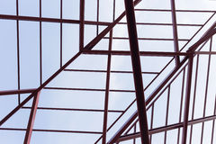Structural steel beam on roof of building residential Stock Images
