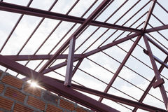 Structural steel beam on roof of building residential Royalty Free Stock Photography