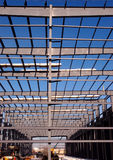 Structural steel beams. View of maze of structural steel beams in factory expansion Stock Photos