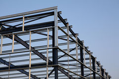 Structural Steelwork. Structural steel framework on new industrial unit Royalty Free Stock Photos