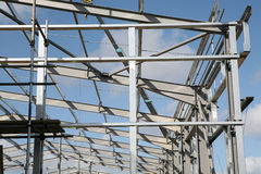 Structural Steelwork. Steel framework in the construction of a new industrial units Royalty Free Stock Photo