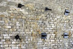Structural Ties on Inner Side of Railway Arch with Securing Plates royalty free stock image