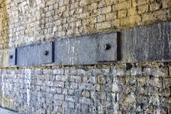 Structural Ties on Inner Side of Railway Arch with Securing Plates stock images