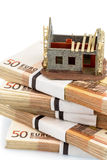 Structural work on euro banknotes. Symbolic photo for home purchase, financing, building society Royalty Free Stock Photos