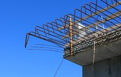 On structure. Details of structure with cloudless sky in background stock image
