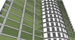 Structure abstraite de wireframe du bâtiment 3D Construction d'illustration Illustration Libre de Droits