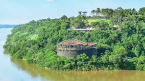 Structure across the river surrounded by nature, the Espaco das Americas. Puerto Iguazu, Argentina - January 07, 2018: Structure across the river surrounded by Royalty Free Stock Image
