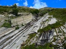 Structure of alpine rocks. Europe. Austria. Switzerland. royalty free stock image