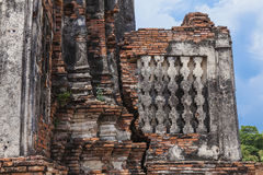 Structure ancient disign Wat Chai Wattanaram Stock Photography
