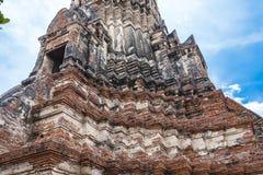 Structure ancient disign Wat Chai Wattanaram Royalty Free Stock Image