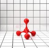 Structure atomique rouge sur le fond lumineux carrelé Image stock
