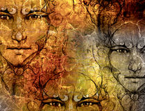 Structure background and ornamental mystic face, collage.  Royalty Free Stock Photo