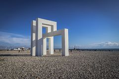 Structure On The Beach In Le Havre, France Stock Photos
