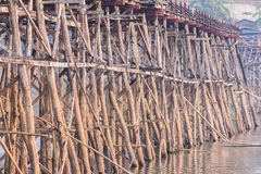 Structure of biggest wooden bridge in Thailand Stock Image