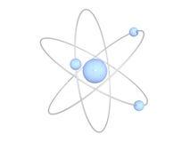 Structure bleu-clair d'atome sur le fond blanc Photographie stock libre de droits