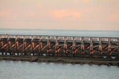 Structure of breakwater in sunrise on atlantic ocean Royalty Free Stock Photo