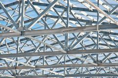 Steel construction on the background of the winter landscape. stock image