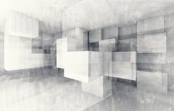 Structure chaotique de cubes 3d rendent avec la texture Images libres de droits
