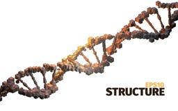 Structure d'ADN fond 3d abstrait Éléments de cube Article de la Science illustration de vecteur