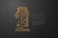 Structure d'or de cadre de polygone de wireframe de chevalier d'échecs, illustration de conception de l'avant-projet de stratégie illustration stock