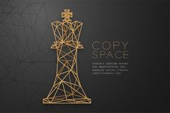 Structure d'or de cadre de polygone de wireframe de reine d'échecs, illustration de conception de l'avant-projet de stratégie com illustration de vecteur
