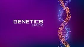 Structure d'hélice fututristic abstraite d'ADN Fond de la science de biologie de la génétique Future technologie d'ADN illustration stock