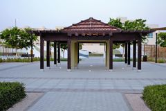 Structure de belvédère de parc, bancs Photographie stock