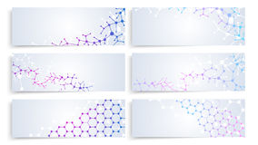 Structure de molécule d'ADN, connexion de cellules du cerveau Bannières médicales de chimie de vecteur réglées Photographie stock libre de droits