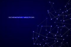 Structure des particules moléculaires et de la technologie de fond d'atome et du vecteur abstraits polygonaux de concept de la sc Photos stock