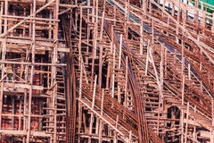 Structure detail in process of construction by using  alot of lo Royalty Free Stock Photo
