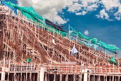 Structure detail in process of construction by using  alot of lo Royalty Free Stock Photography