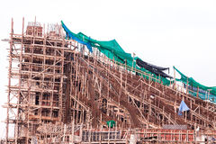 Structure detail in process of construction by using  alot of lo Royalty Free Stock Image