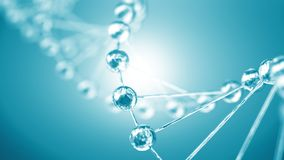 Structure of the DNA chain closeup Silvery molecules and particl stock image