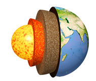 Structure of the Earth. Model  on white background. Elements of this image furnished by NASA. 3d render Stock Photography