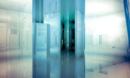 Structure.Empty-Büro mit Spalten und großen Fenstern, Innenbu Lizenzfreies Stockbild