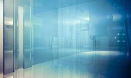 Structure.Empty-Büro mit Spalten und großen Fenstern, Innenbu Stockfotos