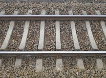 Structure European railroad tracks with stones stock photo