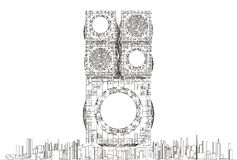Structure futuriste de gratte-ciel de ville de mégalopole Image stock
