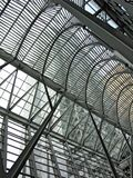 Structure of a Gallery made from metal and glass stock images
