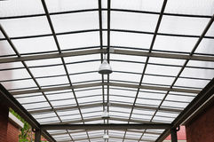 Structure glasses roof with lamps lighting. Stock Image
