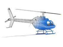 Structure of the helicopter, rear view. Structure of three-dimensional model of the helicopter Stock Images