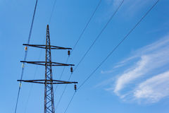 Structure for holding wires - ground wire overhead power lines royalty free stock image