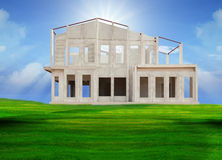 Structure of home in construction  white background Royalty Free Stock Photography