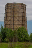 Structure. Huge chimney/silo/steel and wood structure Royalty Free Stock Photos