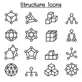 Structure icon set in thin line style. Vector illustration graphic design Stock Images
