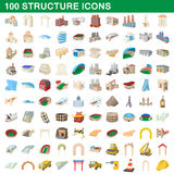 100 structure icons set, cartoon style Stock Image